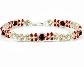 Red and Silver Beaded Chain Bracelet - Beadwork Jewelry - Seed Bead Layering Bracelet