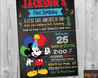 Mickey First Birthday Invitation, Mickey 1st Birthday Invitations, Mickey Mouse Invitation Digital, Mickey Mouse Birthday Invitation Boy 1st