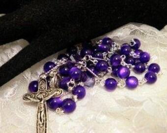 Purple Cats Eye Rosary Beads