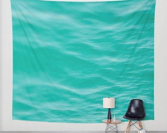 ocean wall tapestry, large size wall art, wall decor, ocean sea, dreamy wall art, green mint turquoise