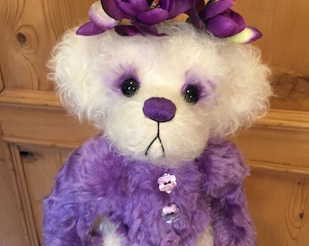 PENELOPE LOVES PURPLE: a handmade artist teddy bear from Jazzbears