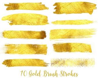 Buy 3 for 9 USD - Gold Foil Brush Strokes Clipart, Gold Glitter Clipart, Gold Confetti, Gold splotches, Gold Splashes, Texture
