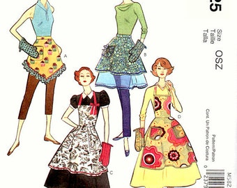 McCall's M5825  Fashion Accessories, 1950s style aprons