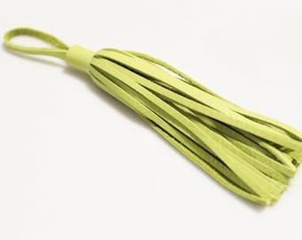 Green Lime Genuine Leather Tassel, Key Chain Purse Tassel, Handbag Tassel (LT12)
