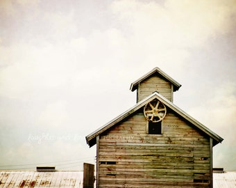 Barn Top Photo, Rustic Farmhouse Photography, Gray Neutral Weathered Wood Farm Country Picture, Fixer Upper Style Home Decor Wall Art