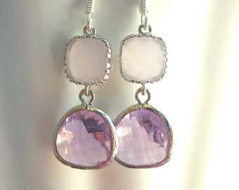 Glass Earrings, Lavender Earrings, Soft Pink Earrings, Purple, Wedding, Bridesmaid Earrings, Bridal Earrings Jewelry, Bridesmaid Gifts