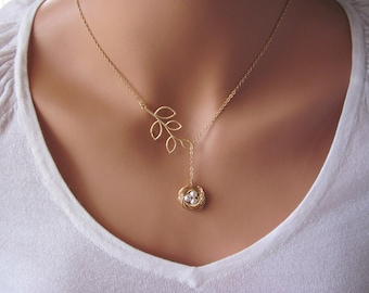 Personalized Gold Bird Nest and Branch Lariat Necklace- mom, birthday, baby shower, anniversary, customizable gift, available in silver.