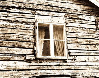 Weathered house Photography shack homestead traditional log aged window home simple sweden pine fir curtain - Rustik Hus - fine art photo