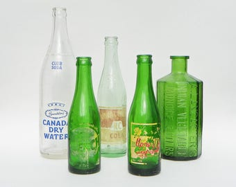 Five Vintage Glass Bottles Clear Green - Soda Pop Bottles - Canada Dry - RC Cola - Upper 10 - Quench - Jaundice Bitters