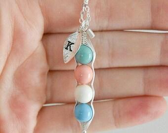 Candy Color Peas in a Pod Necklace,  Best Friend Jewelry, Three Peas in a Pod, Mom Necklace, Kids Initial Necklace, Remembrance Neckalce