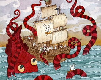 "Giant Squid Kraken Pirate Ship Art Print 16"" x 20"" Limited Edition"