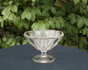Small Vintage Etched Clear Glass Compote - Two Panel