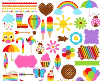 Rainbow Clipart Set - digital elements - frames, borders, flowers, arrows, flags - personal use, small commercial use, instant download