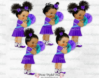 Cheerleader Purple Turquoise Uniform & Pom Poms |  Vintage Baby Girl | African American Babies of Color | Clipart Instant Download