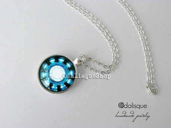 Iron man necklace arc reactor pendant tony stark armor suit iron man necklace arc reactor pendant tony stark armor suit jewelry avengers blue power keyring round glass silver cs09 aloadofball Image collections