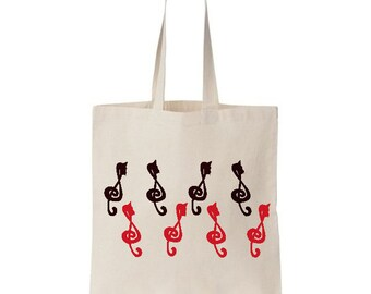 Cats in treble clef Tote Bag