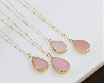 Pendant Necklace, Layering Necklace, Pink Druzy & Gold Necklace, Necklace for Women, 14kt gold filled, Gift Women, Graduation, Gift for her