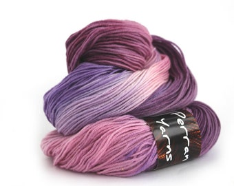 Handdyed sock yarn, pink lilac purple fingering wool, 4ply superwash merino cashmere knitting wool, Buddleia mcn crochet yarn, uk seller