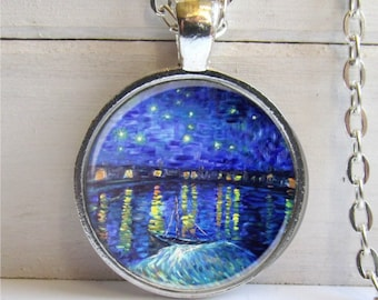 Van Gogh Art Pendant, Starry Night Over The Rhone, Silver and Glass