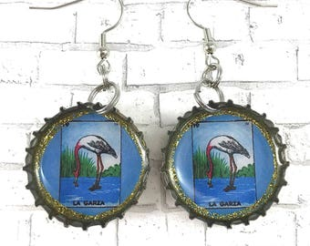 La Garza Upcycled Jewelry Mexican Loteria Beer Cap Earrings Loteria Earrings Recycled Bottle Caps Repurposed Earrings Bottle Cap Earrings