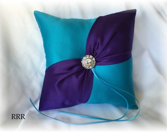 Turquoise and Purple Wedding Ring Bearer Pillow, Turquoise Ring Pillow, Purple Ring Pillow, Blue Ring Pillow, Turquoise Wedding Pillow