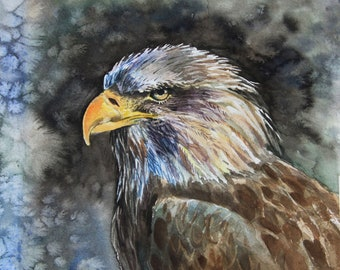 Eagle watercolor painting,American  Patriotic Decor, Bird Painting,American Eagle, Bald Eagle,symbols