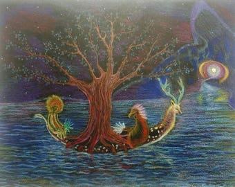 Canoe-tree spirit world. Original drawing