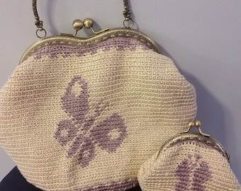crocheted purse and coin purse set