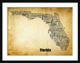 Florida State Map City Cities Typography Grunge Map Poster Print Tyographical Map