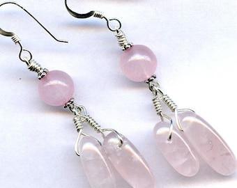 Rose Quartz Dangles Sterling Silver Earrings