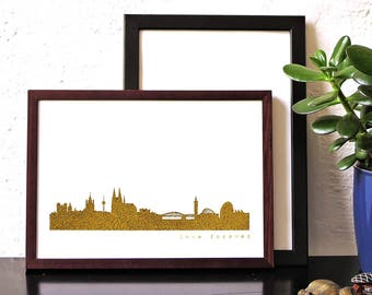 Real golden COLOGNE skyline poster, Cologne gold Print, modern Cologneart work, unique Cologne print, gift idea Cologne-Lovers, anniversary