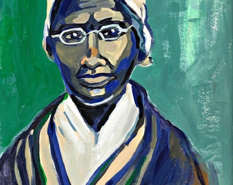 "Sojourner Truth Painting, Giclee Art Print, Portrait, 12"" x 9"" Black History Month"