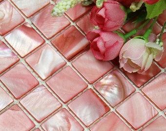 Dying Pink Mother of pearl shell kitchen backsplash tile MOP054 sea shell pearl bathroom wall tiles