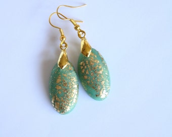 Gold and mint earrings of polymer clay and gold leaf