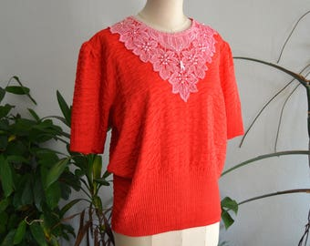 Red Top with Pink Flower Embroidery and Pearls, size Medium