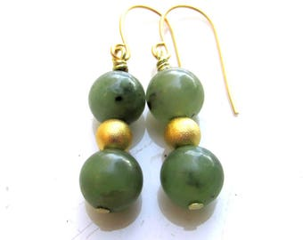 NATURAL Nephrite Jade EARRINGS with 22k gold plated beads and earring hooks