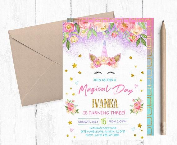 Unicorn party invitations unicorn birthday invitation stopboris Image collections