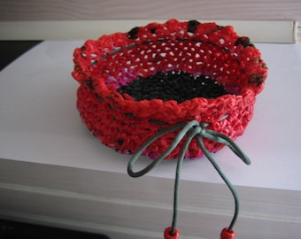 Upcycled ' tidy Heather fuchsia crocheted with recycled plastic bags