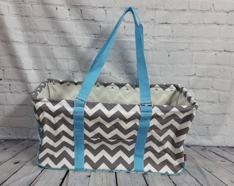 CLEARANCE  Gray/aqua Chevron haul-it-all tote