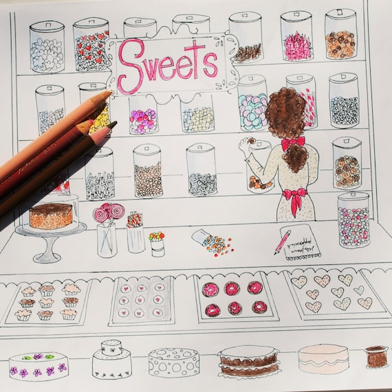 Sweet Shop Erwachsenen Färbung Seite Candy Store Backstube