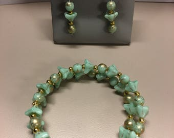 Mint green and gold bracelet and earring set