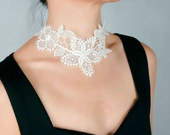 white/cream gold/black  lace choker necklace - floral charmed - gothic vintage chic elegant - wedding bridal necklace