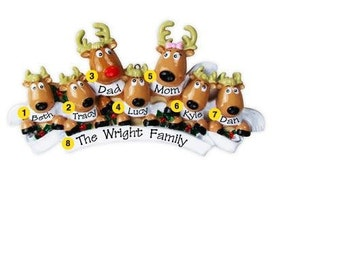 Personalized Christmas Family Ornaments- Rudolph Reindeer family of seven, Grandparents gang, grandkids,friends co-workers