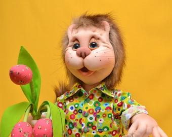 Текстильная кукла - Кот. Текстильный кот. Интерьерная текстильная кукла. Doll Cat. Art Dolls.