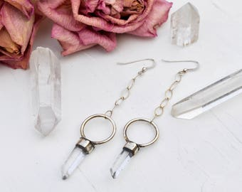 Anunnaki Portal Earrings // Quartz Crystal Drop Earrings