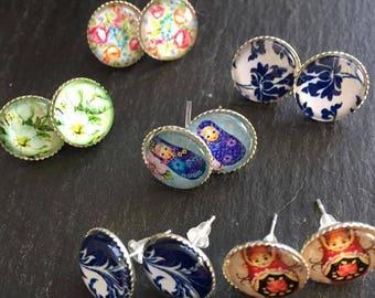 Handmade Cabochon Boho Style  Earrings