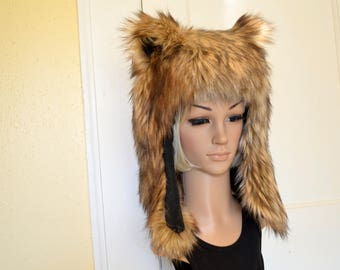 Brown Bear Hat Faux Fur Animal Hat Grizzly