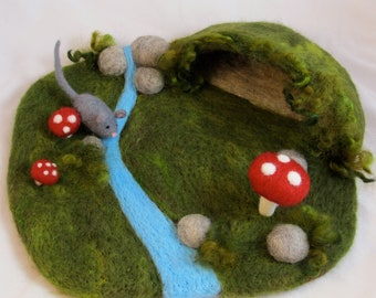 Needle Felted Play Mat - Mouse's Cave