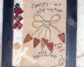 heartstrings stitchery primitive rustic hand stitched hand made frame shabby country farmhouse ready
