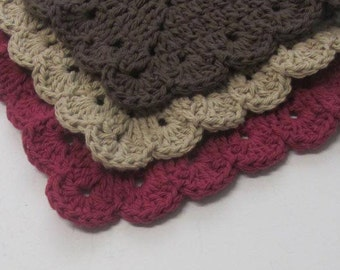 Cotton Washcloths Scallop Granny Square Dishcloths 3 set -Ready to Ship-